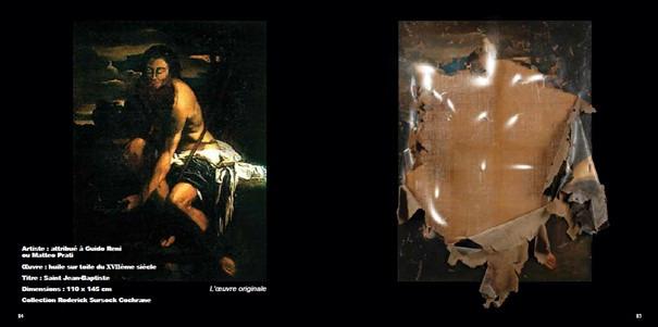 Dégâts de l'explosion sur une toile du XVIIe