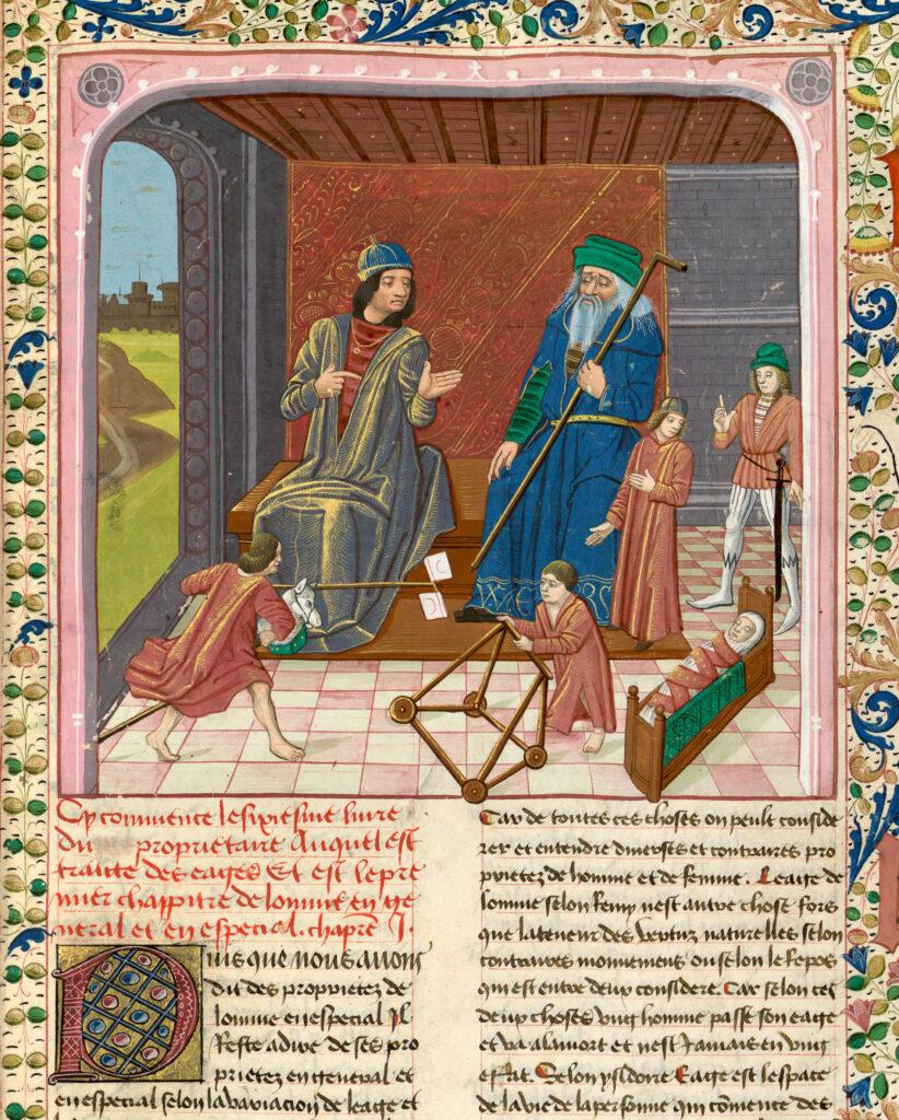 Les sept âges de la vie, Barthélemy l'Anglais, Livre des propriétés des choses, France, XVe s.