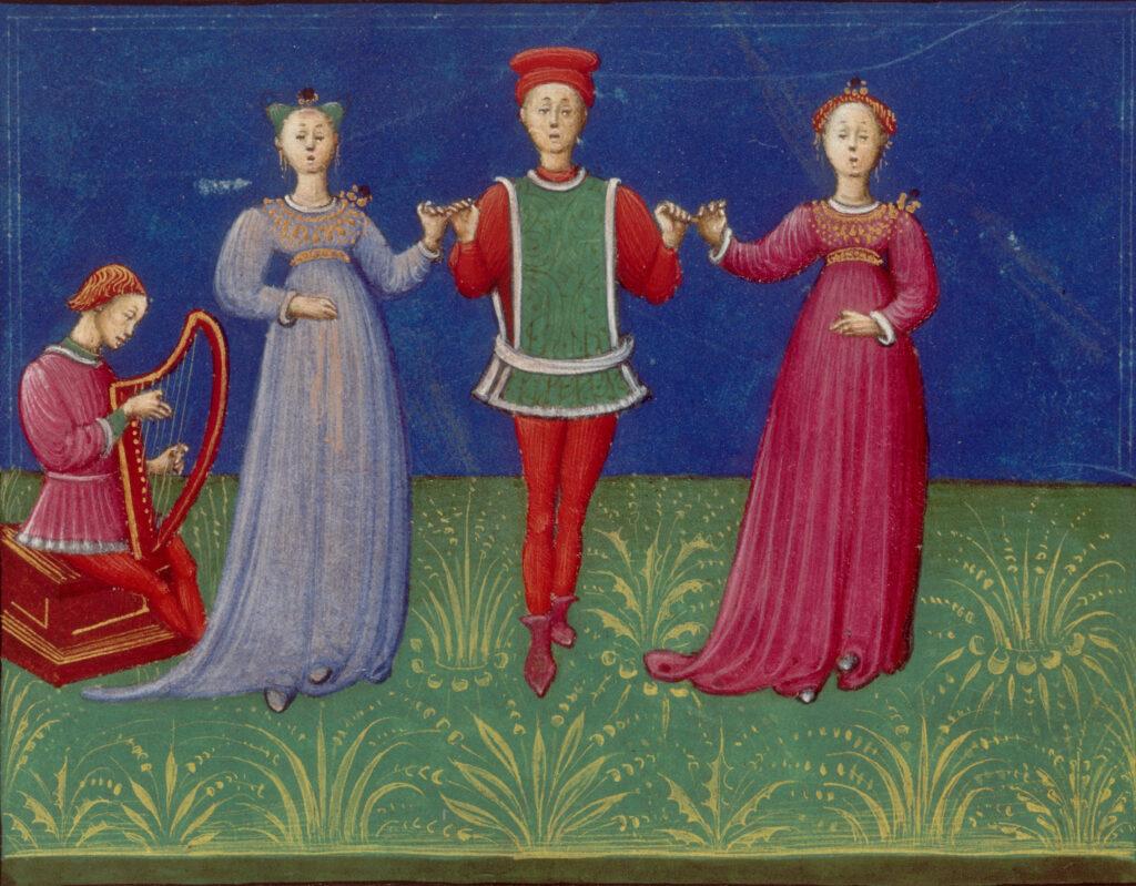 Cours de danse, Guilielmus Hebraeus Pisauriensis. De pratica seu arte tripudii, Italie, 1463