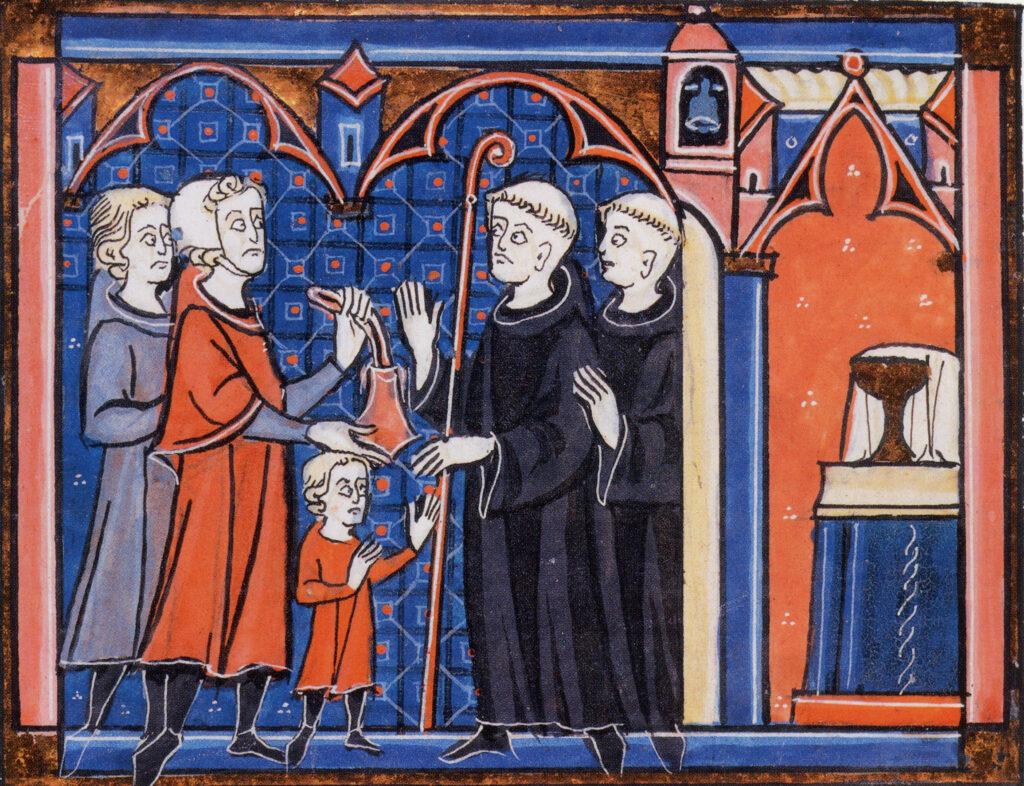 Enfant confié au monastère pour son éducation moyennant finances, Gratien, Décret, France, 1ère moitié du XIVe siècle