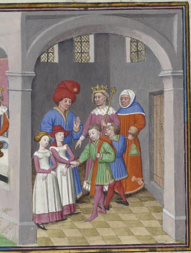 La politesse se saluer et promettre sa foi en se touchant la main, Boccace, Décaméron, Flandre, milieu du XVe s. Paris, Arsenal