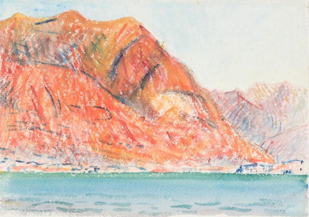Amiet Cuno, Lac de Sils avec montagnes, 1909