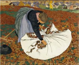 Ernest Biéler, Ramasseuse de feuilles mortes, vers 1909