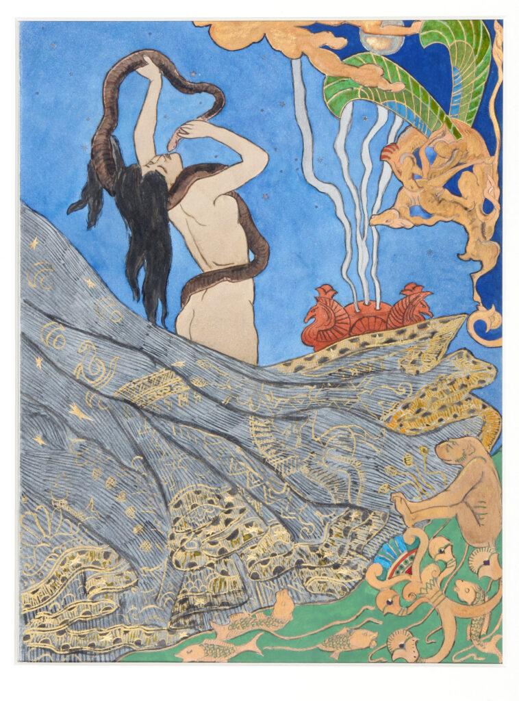 Victor Prouvé, Salammbô : dessin pour le plat supérieur, 1893.