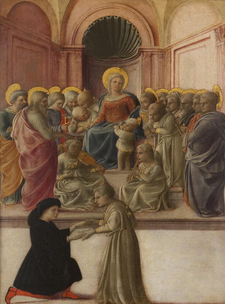 Fra Filippo Lippi, La Vierge et l'Enfant avec des saints, des anges et un dévot, vers 1432