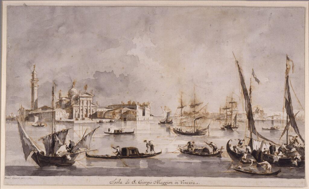 Francesco Guardi, Vue de l'île de San Giorgio Maggiore, neuvième décennie du XVIIIe siècle
