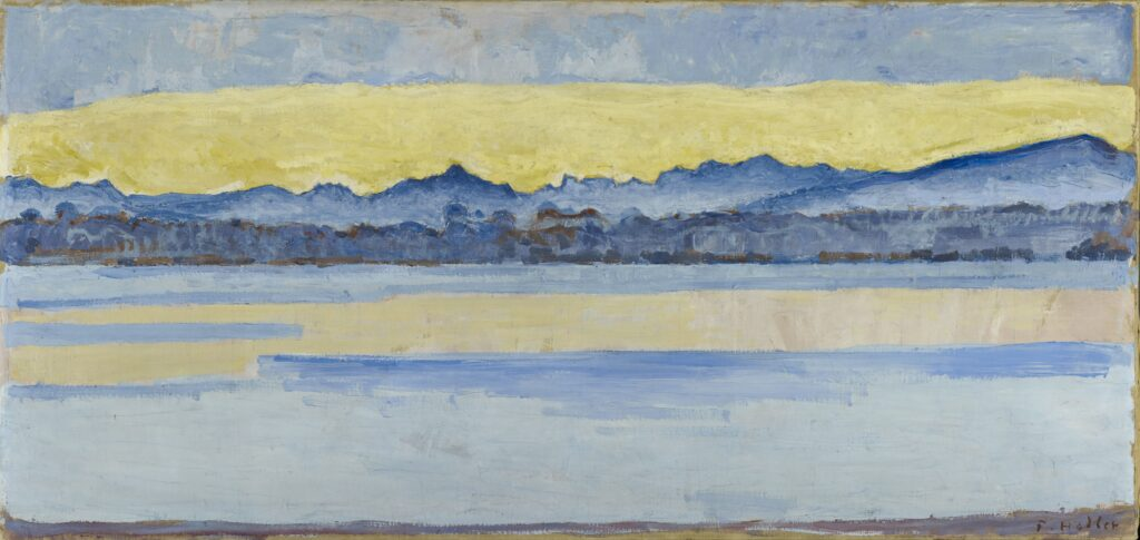Ferdinand Hodler, Le Lac Léman et le Mont-Blanc à l'aube, 1917