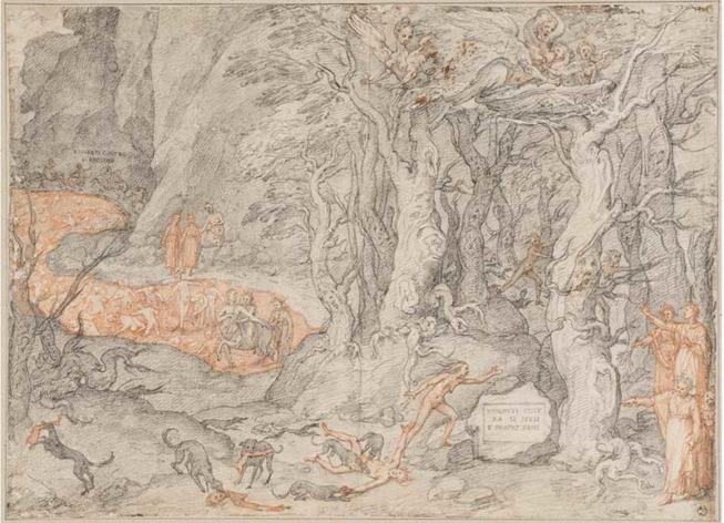 Federico Zuccari, Septième Cercle, deuxième fosse : La forêt des suicides. Illustration pour L'Enfer de Dante, chant XII-XIII