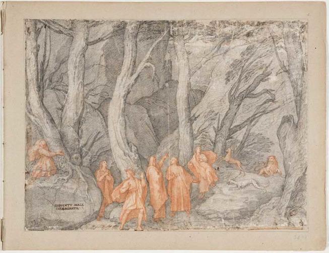 Federico Zuccari, La forêt sombre. Illustration pour L'Enfer de Dante, chant I