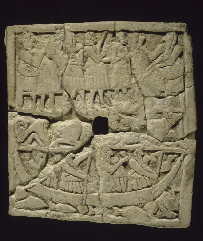 Bas-relief perforé orné de scènes de banquet, vers 2600 av J-C