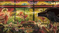 Le banquet du Sans visage (Chihiro presented to No Face), Projet de tapisserie de 3 x 7,50 m. © 2001 Studio Ghibli-NDDTM