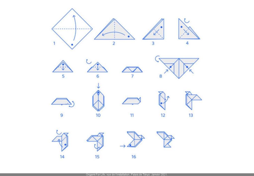 Patron pour réaliser un origami en forme de colombe