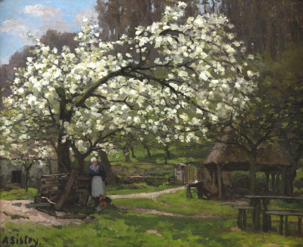 SISLEY, Printemps, paysanne sous les arbres en fleurs