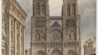 """Frechot. """"Le parvis de Notre-Dame"""", Paris (IVème arr.). Aquarelle. 1833. Paris, musée Carnavalet."""