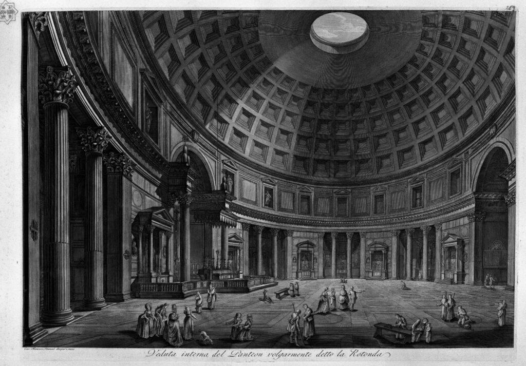 Gravure de Francesco Piranesi, Le Panthéon à Rome, 126 apr.J.-C, vers1790.
