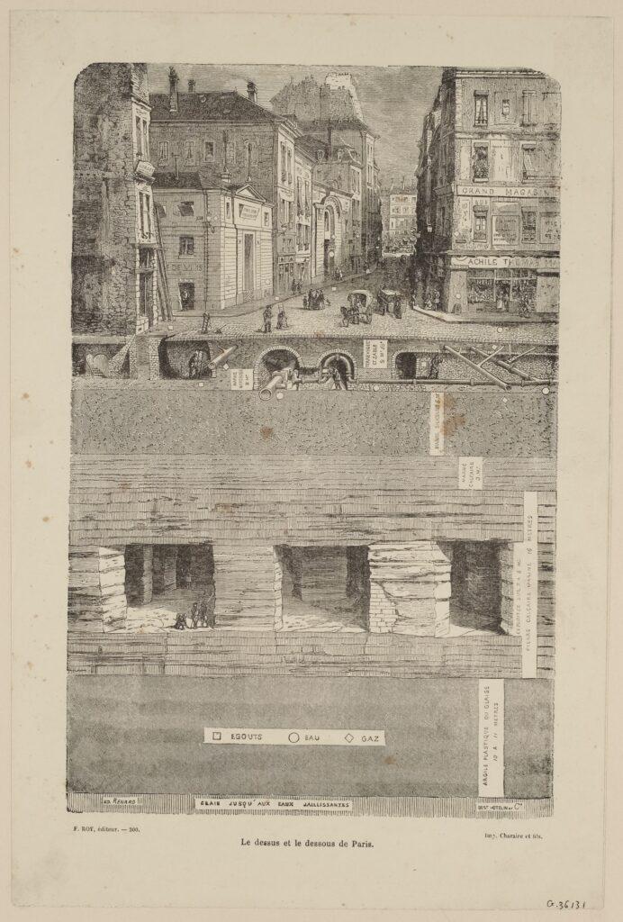 Gravure d'Édouard Renard, Le dessus et le dessous de Paris, 1880.