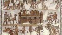 """Art romain,  fin 4e / début 5e siècle   Villa (ferme) romaine, avec des scène de la vie de campagne.  Mosaïque dite de """"Dominus Julius"""" Détail sans la bordure en mosaïque  5,9 × 5 m.  Lieu de découverte : Carthage (Tunisie). Tunis, Musée national du Bardo."""