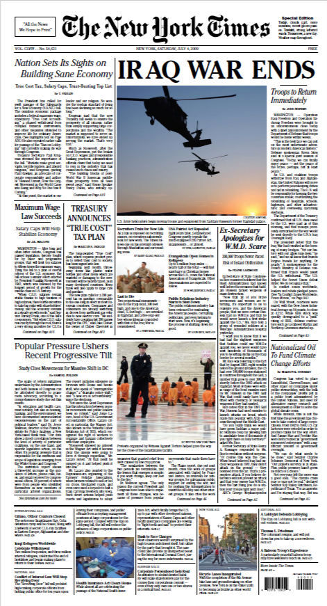 The New York Times Special Edition, 2008