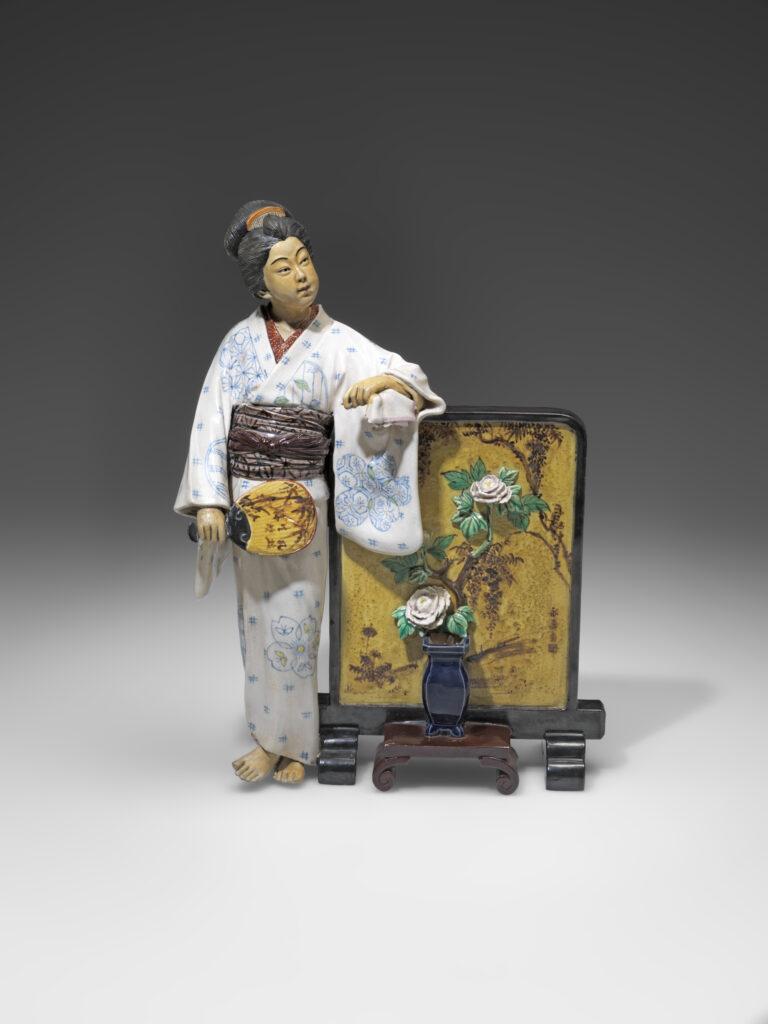 Femme au paravent, Manufacture céramique Goraku (île de Kyūshū),