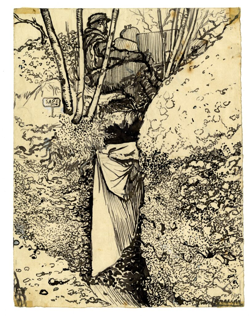 La Sape, dessin à l'encre noire, Georges Bruyer, 1915