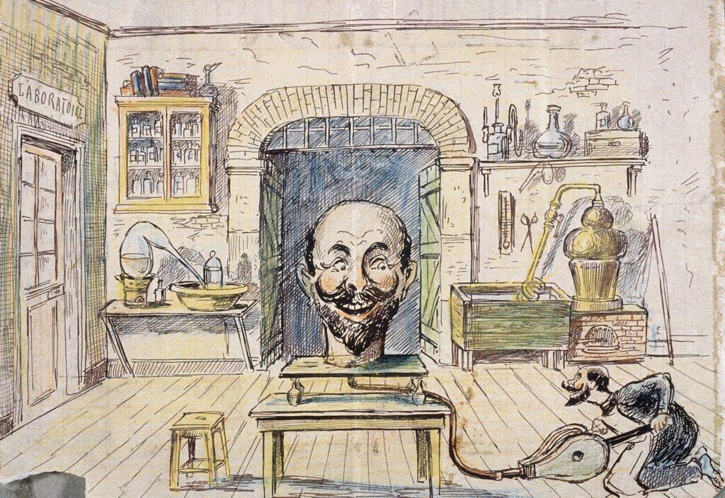 Georges Méliès, Maquette de décor pour L'Homme à la tête en caoutchouc, 1901