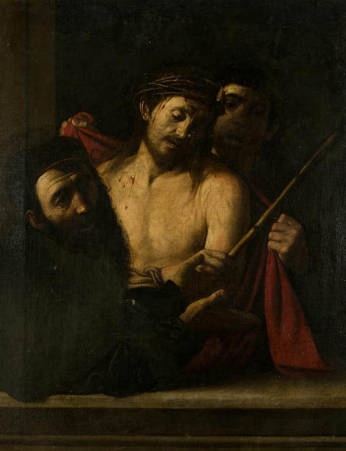 Possible Couronnement d'épines, Possible Caravage attribué à l'école de José de Ribera, XVIIe siècle