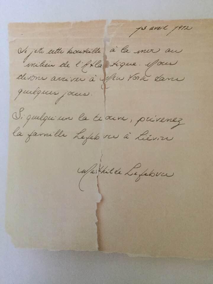Lettre signée Mathilde Lefebvre
