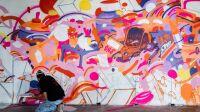 Préparation d'une fresque par Zoo Art Show, 2020