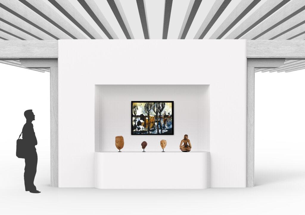 Exemple de cimaise avec socle et niche
