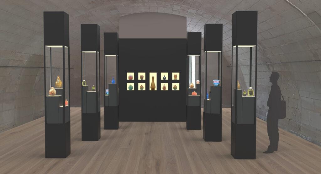 Vue de la salle dédiée à la présentation des verreries de M. Marinot