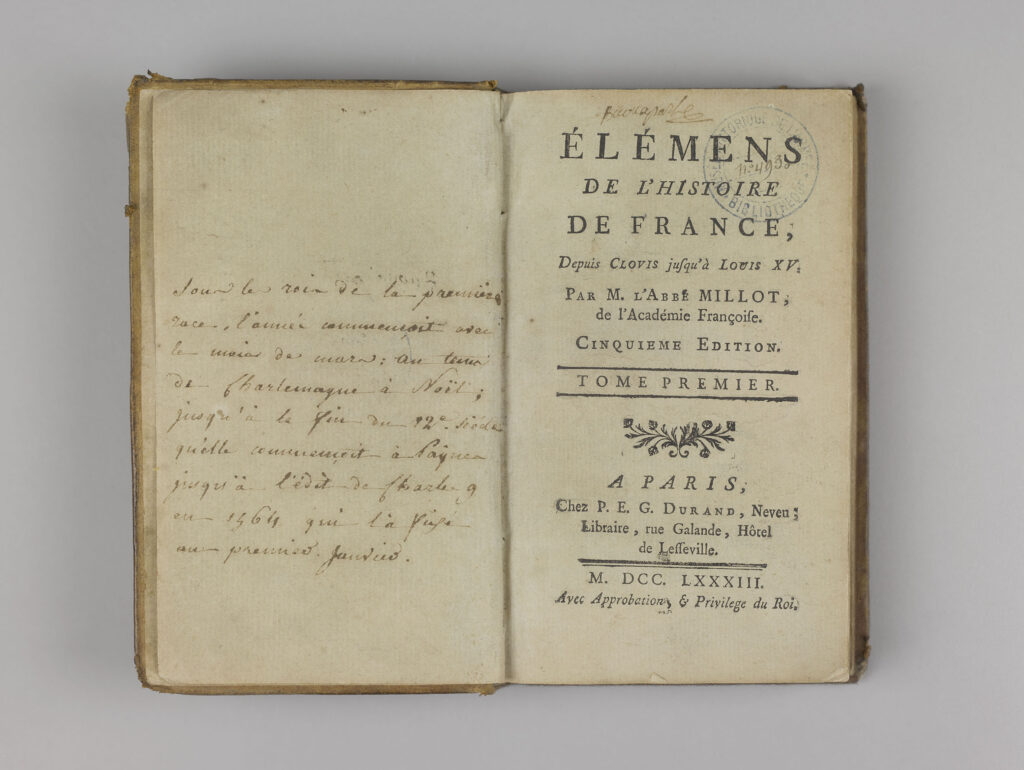 Abbé Millot, Eléments de l'Histoire de France depuis Clovis jusqu'à Louis XV