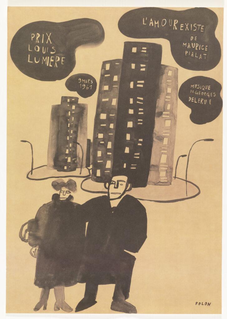Folon, L'Amour résiste, affiche du court métrage de Maurice Pialat en 1961