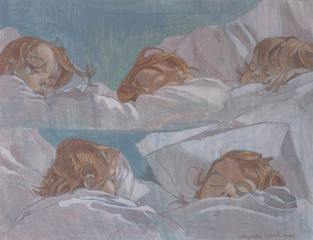 Augustin Rouart, Cinq têtes d'enfant endormi (1948)