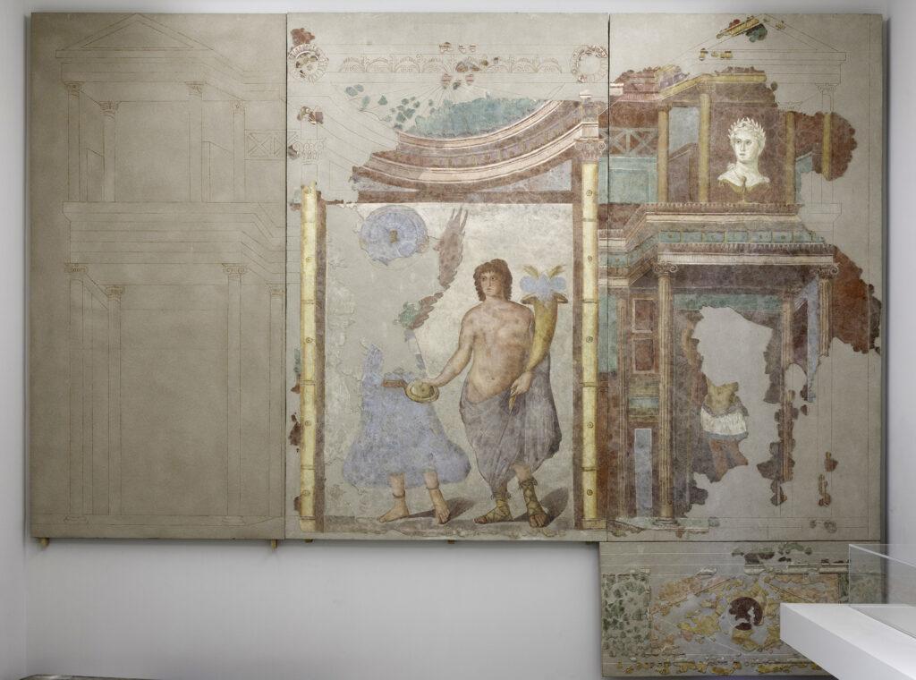 Fresque au Génie et détail de la fresque au Génie, IIe siècle