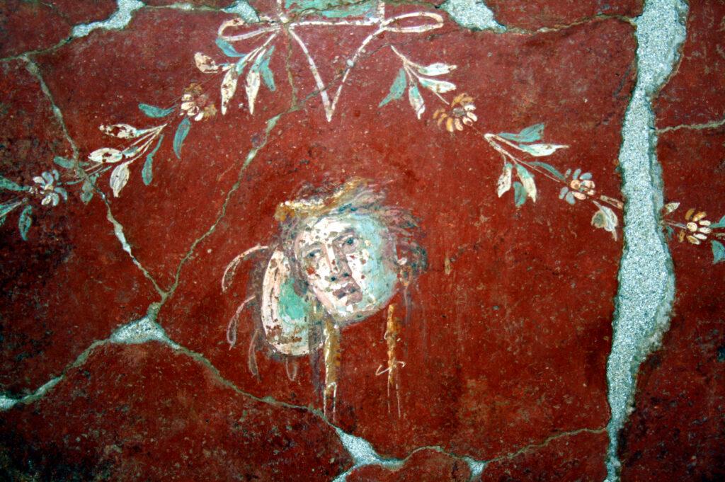 Détail d'une peinture murale du Clos de la Lombarde, Ier siècle ap. J.-C.