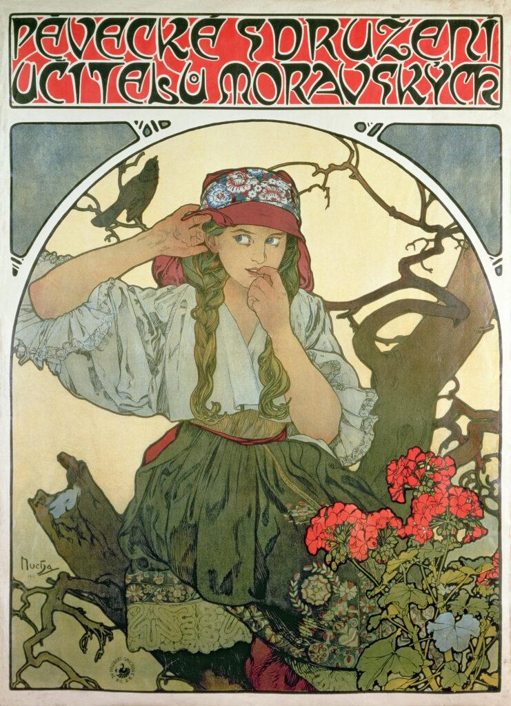 Alphonse Mucha, affiche pour la chorale des professeurs moraves, 1911