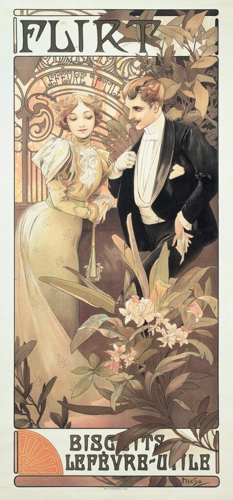 Alphonse Mucha, la beauté Art Nouveau, Musée départemental breton, Flirt, Biscuits Lefèvre-Utile, 1899