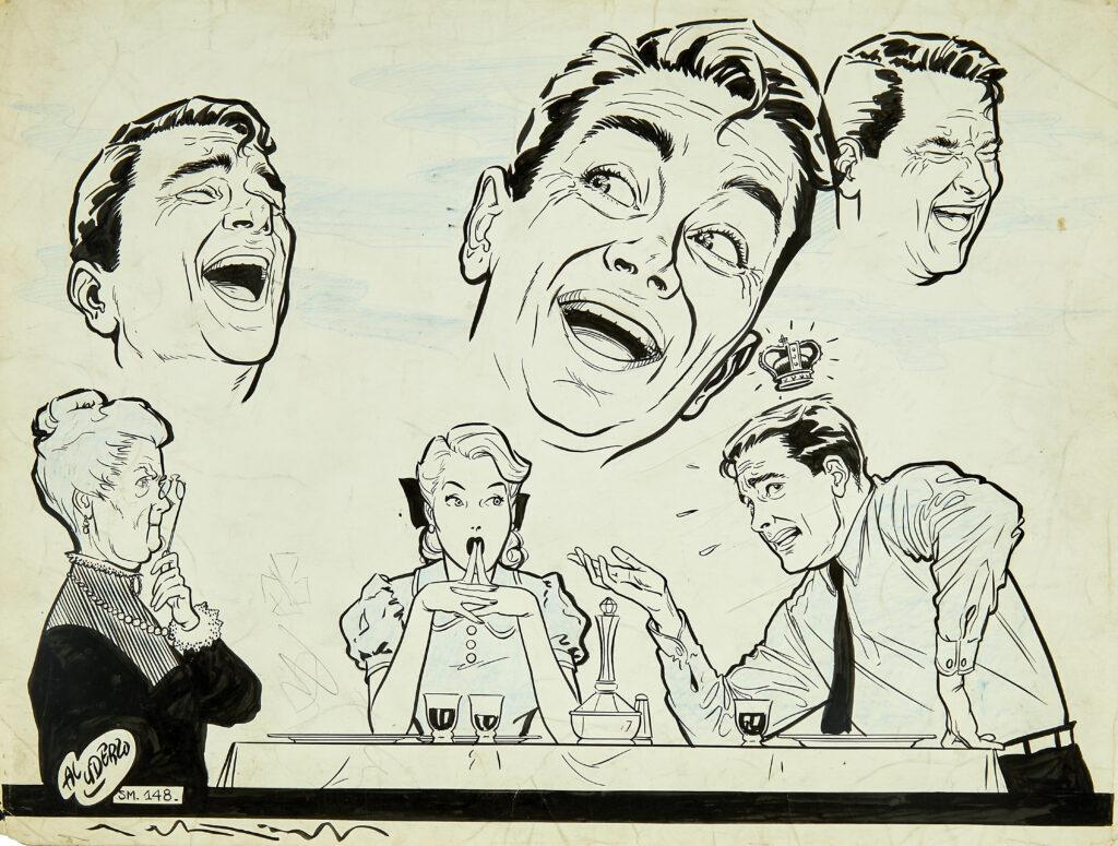 Albert Uderzo, Dessin pour Bonnes Soirées (Sa Majesté mon mari, chroniqué par René Goscinny), 1952