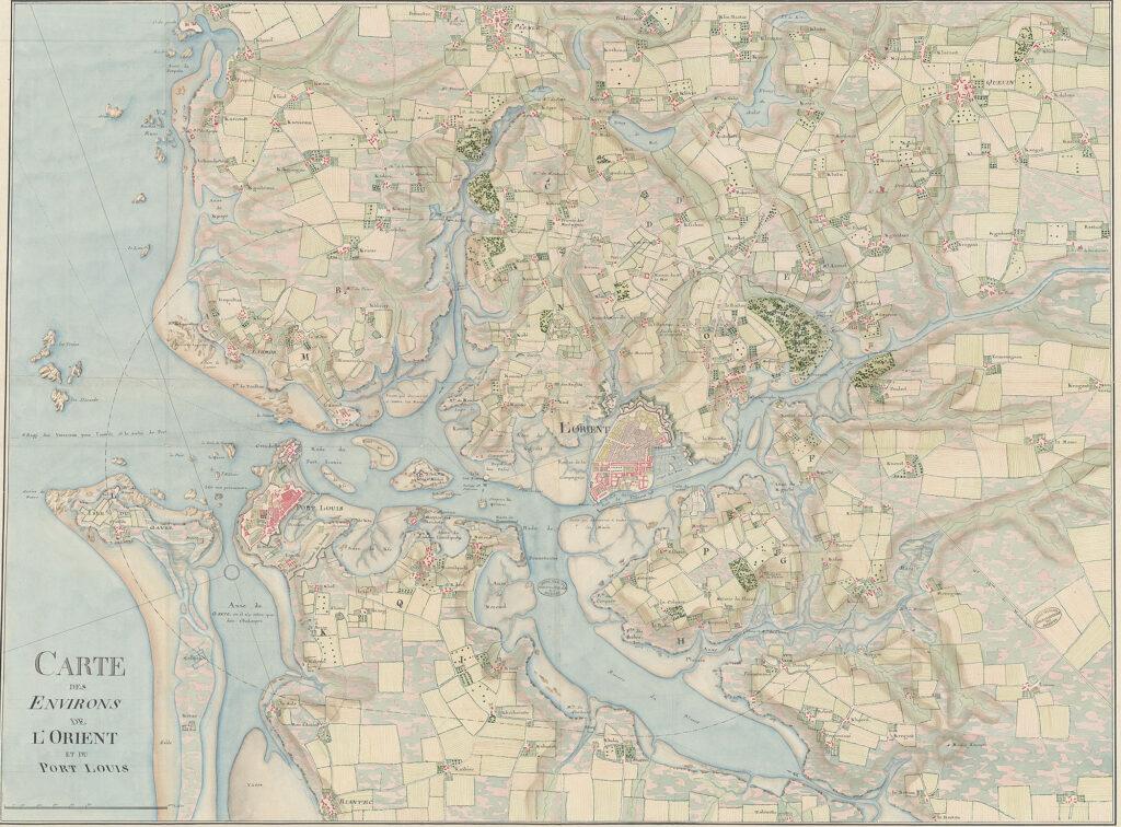 Carte des environs de Lorient et du Port-Louis