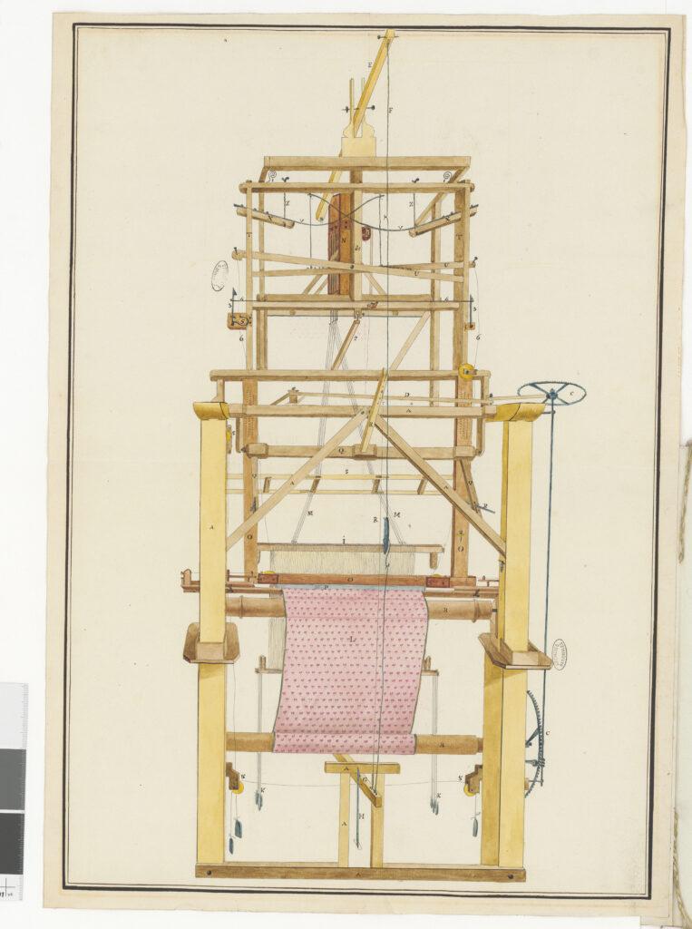 Dessin d'un métier à tisser dans un dossier de demande de brevet d'invention, 1810