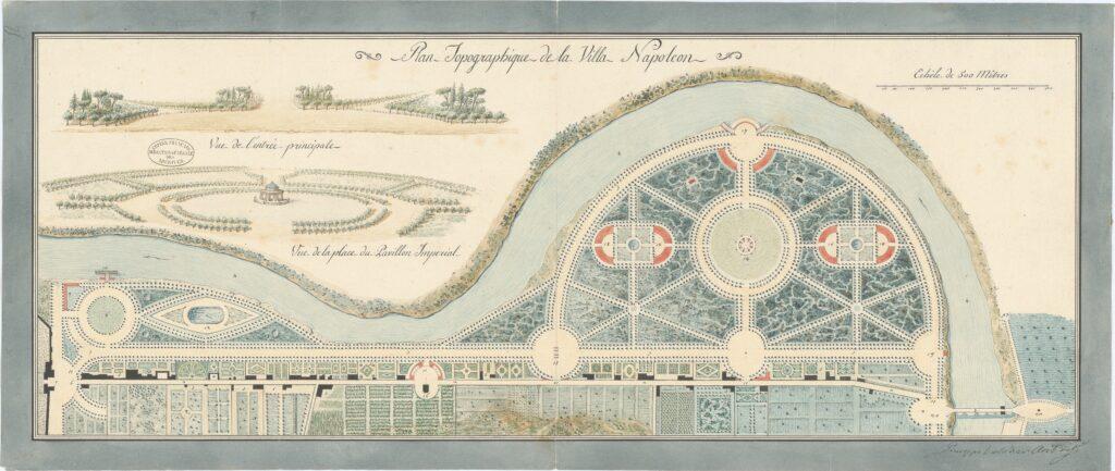 Plan topographique de la villa Napoléon à Rome