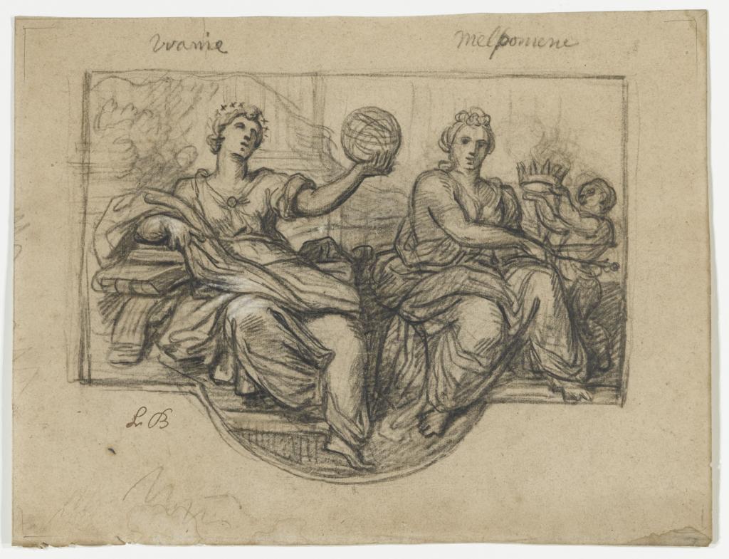 Louis II de Boullogne, Les muses Uranie et Melpomene, vers 1679.
