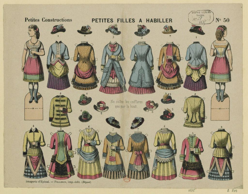 Jeu d'habillage, Petites filles à habiller, imagerie Pellerin à Epinal (Vosges)