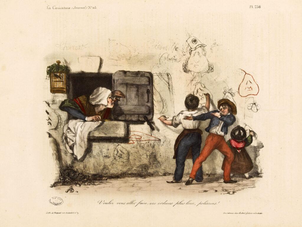 """Polissons ! Auguste Bouquet (1810-1846). Caricature de presse. """"Voulez vous aller faire vos ordures plus loin, polissons !"""". Planche parue dans """"La Caricature"""" du 17 janvier1833. Lithographie."""