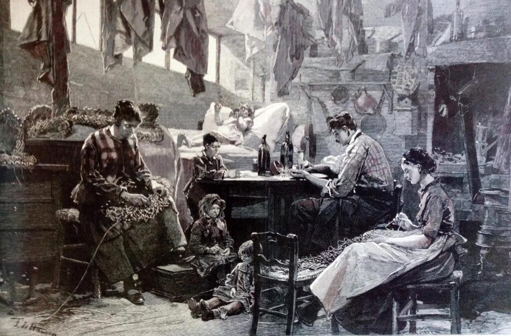 Fabrication de couronnes funèbres pour la fête des morts, Lithographie de Haenen parue dans L'illustration, 29 oct. 1887.
