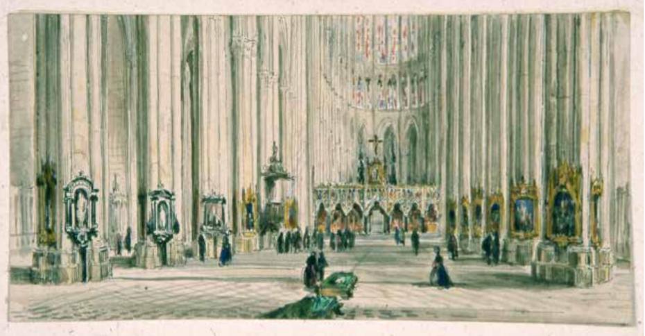 Aimé ou Louis Duthoit, vue rétrospective de la cathédrale ornée des Puys