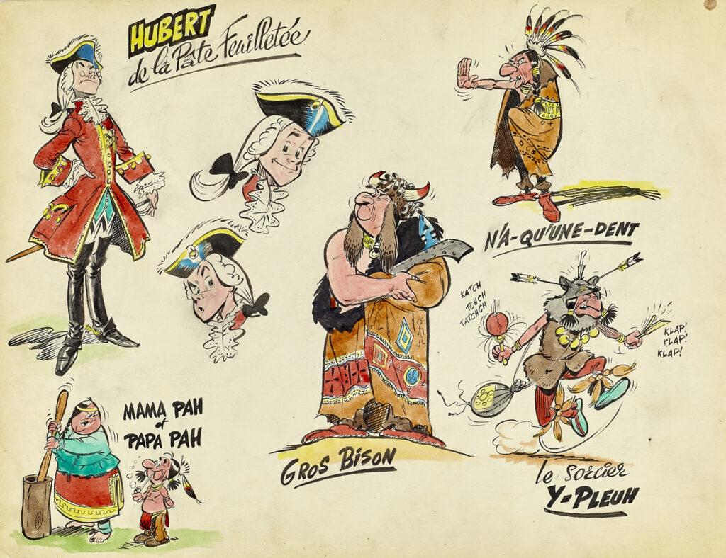 Albert Uderzo, Oumpah-Pah, Recherche de personnages, 1958