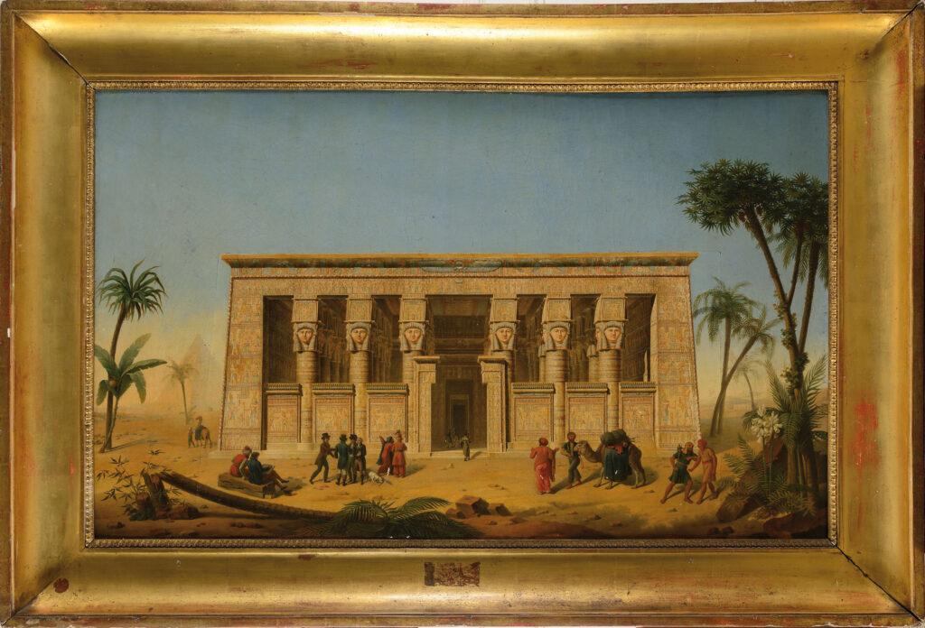 François-Martin Testard, Les Scientifiques de la campagne d'Égypte devant le temple de Dendera, 1819