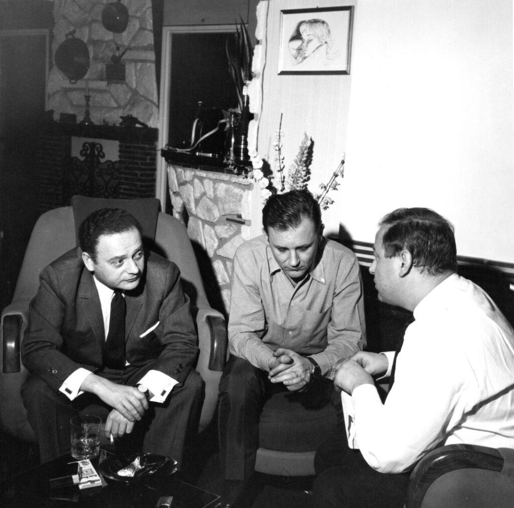 René Goscinny, Albert Uderzo et Jean-Michel Charlier chez Albert à Bobigny, 1960