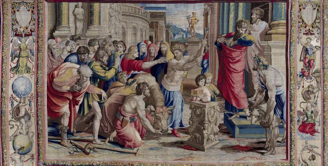 Saint Paul et saint Barnabé à Lystra, milieu du XVIe s., tapisserie